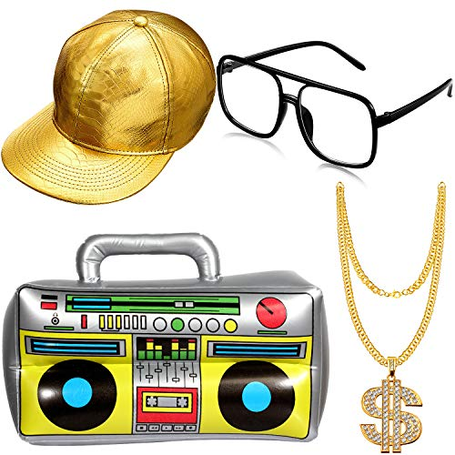 Kit Costume Hip Hop Occhiali da Sole Catena dOro Anni 80 / 90 Accessori Rapper