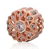 Breloque en forme de fleur et cœurs, argent sterling 925 ton or rose-Travail ajouré avec zircons cubiques-Perle pour bracelets européens