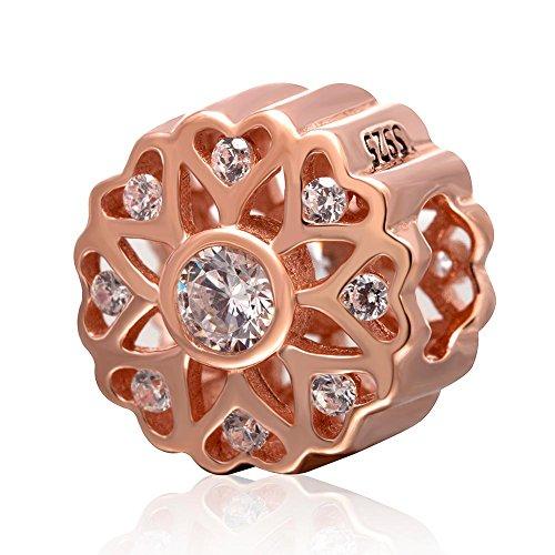 Charm a forma di fiore in argento sterling 925 color oro rosa con cuori traforati e zirconi trasparenti, per braccialetti di marca europea