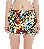 SHEKINI Damen Sommer Hawaii Farbige Badeshorts Kurze Blumen Hotpants Schnell Trocknend Wassersport Schwimmshorts Schwarz Strand Hose mit Taschen (X-Large, Geld)
