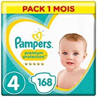 Pampers - Premium Protection - Couches Taille 4 (8-16 kg) - Pack 1 mois (x168 couches)