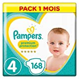 Pampers - Premium Protection - Couches Taille 4 (9-14/8-16 kg) - Pack 1 mois (x168 couches)