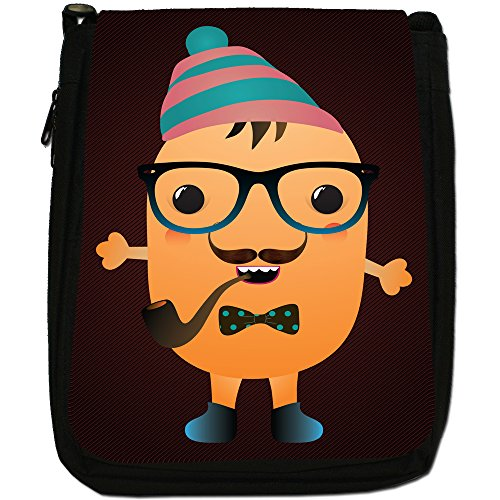 Funny Freak Hipster Trendy Monsters-Borsa a tracolla in tela, colore: nero, taglia: M Nero (Beanie Pipe Smoking Monster)