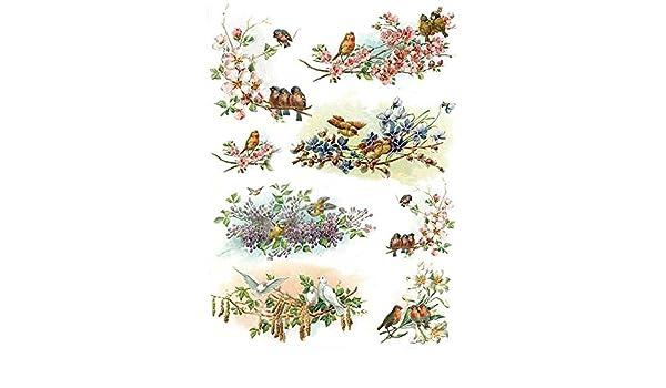 Zita`s Creative Reispapier A4 Motiv-Strohseide Decoupage Papier Vintage Easter Strohseidenpapier