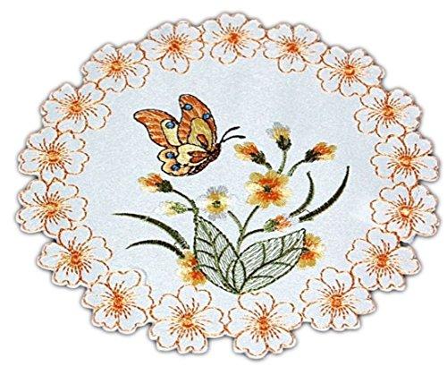 Tischdecke Sekt 20 cm Rund Schmetterlinge Orange Deckchen Untersetzer Butterfly Frühling Sommer