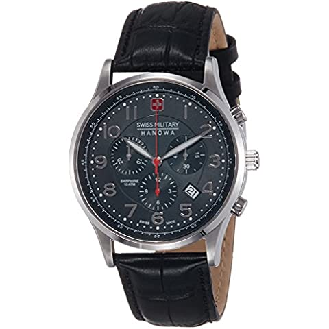 Swiss Military 06-4187.04.007 - Reloj analógico de cuarzo para hombre con correa de piel, color