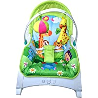 YYBABY Silla mecedora para bebé Multifunción Luz Plegable Confort Silla Lounge Silla Juguete Bebé Música Cuna Edades 0-6 Cómodo y suave