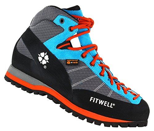 Fitwell Big Wall Light EV wasserdichte Wanderschuhe / Trekkingschuhe für Damen und Herren MADE IN ITALY (UK 7,5 - EU 41,5, Sky Blue)