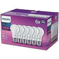 Philips, lampadina LED, 6 W, 230 V, in stile Edison E27, luce bianca calda effetto smerigliato, Sintetico, White, E27, 5.5 wattsW 240 voltsV