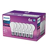 Philips LED E27 Frosted Light Bulbs, 5.5 W (40 W) - Warm White, Pack of 6