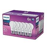 Philips LED 5,5W (40W) A60E27Edison Schraube Leuchtmittel, warm weiß, matt Leuchtmittel –, 6Stück, E27, 5Watt, Pack von 6