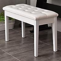 casart asiento taburete de banco de Piano de almacenamiento elegante lujo suave piel sintética comodidad blanco