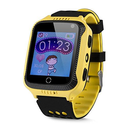 JBC GPS-Telefon Uhr OHNE Abhörfunktion, für Kinder, SOS Notruf+Telefonfunktion, Live GPS+LBS Positionierung, funktioniert weltweit, Anleitung + App + Support auf deutsch (Gelb)