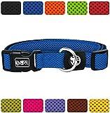 DDOXX Hundehalsband Air Mesh | für große & Kleine Hunde | Katzenhalsband | Halsband | Halsbänder | Hundehalsbänder | Hund Katze Katzen Welpe Welpen | klein breit Leuchtend bunt | Blau, S