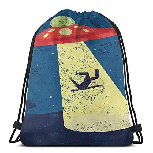 Bag hat Distressed Graphic of An Alien Abduction of Human Science Fiction Image 3D Print Drawstring Backpack Rucksack Shoulder Gym for Adult 16.9