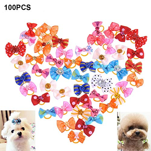 Dog Accessories - 100pcs Mixed Color Puppy Hair Bows Accessorries Bowties Grooming Tb - Large Gold Pack Door Gate Yorkies Bowl Travel Hiking Moon Training Harness Girl Kids Leash Puppies Backp