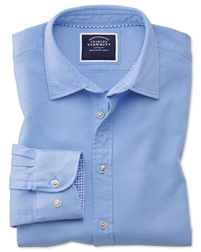 Classic Fit Washed Bright Blue Honeycomb Textured Cotton Shirt Single Cuff by Charles Tyrwhitt