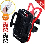 Bike Mount Bicycle Holder, FabQuality Universal Cradle Clamp for iOS Android Smartphone GPS other Devices PLUS BONUS INC!, with One-button Released, 360 Degrees Rotatable, Rubber Strap