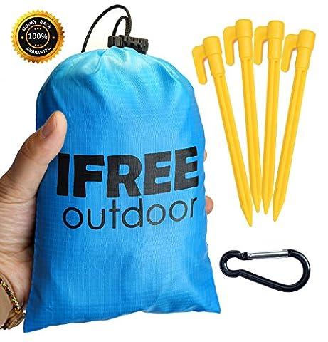 Couverture de poche extra compact et imperméable pour plage, pique-nique, camping, randonnée, festivals et voyages (178x 137cm)