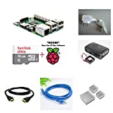Raspberry Pi 3 Model B - Complete Kit (RPi 3, Case, Adapter, NOOBS, HDMI, LAN, Heat Sinks) (5V 2A Elementz Adapter, ABS Black Case with Fan)