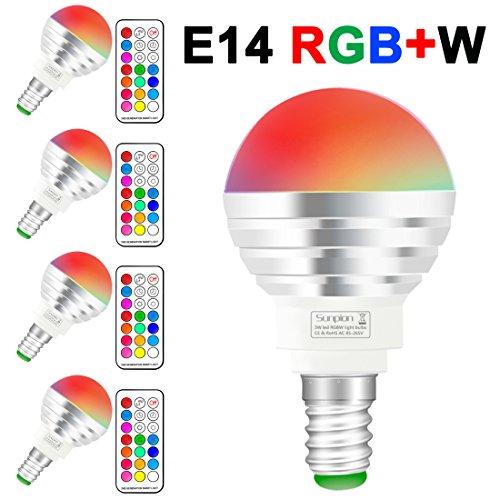 (4 Pack)LED RGBW Lampen, Sunpion® 3W E14 Glühlampen Dimmbar Glühbirne, inklusive Fernbedienung, Farbwechsel Lampen, LED Birnen, LED Leuchtmittel (RGBW 3W E14 4Pcs) (Uv-licht-system)