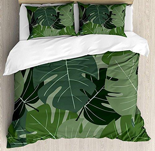 Soefipok Forest Green 3-TLG. Bettwäscheset, Tarnmuster aus Palmblättern mit tropischem Naturmotiv, Bettwäscheset Tagesdecke für Kinder/Jugendliche/Erwachsene/Kinder, Salbei-Grün, Hellgrün - Salbei Grüner Farbstoff