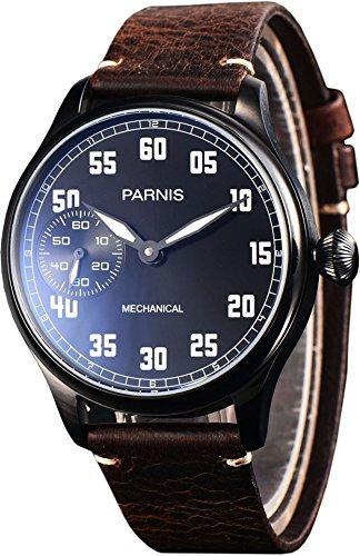 PARNIS 2147 PVD-schwarze Fliegeruhr mit Handaufzug und nachtleuchtenden Zeigern und Indices mechanische 44mm Edelstahl Armbanduhr für Herren SeaGull ST36...