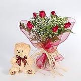 Ramo 6 rosas rojas con osito-FLORES FRESCAS-ENVIO EN 24 HORAS