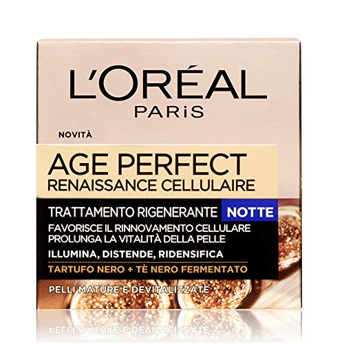 L'Oréal Paris Age Perfect Renaissance Cellulaire Crema Viso Antirughe Ricostituente Notte, Pelli Mature, 50 ml