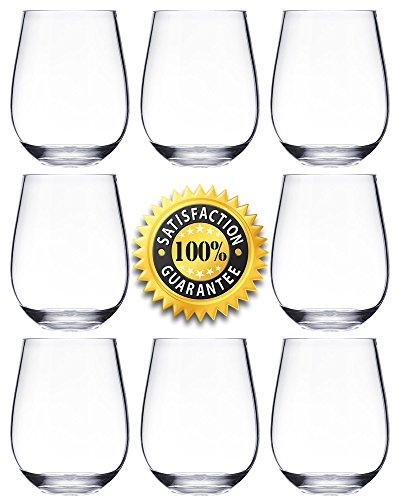 Weingläser aus Kunststoff–Set von stiellose rot weiß Wein Glas–unzerbrechlich–wiederverwendbar–bruchsicher–Klauenhammer, 450ml–Transparent Klar–Ideal als Gläser für Partys, Hochzeiten, Camping, Picknicks, Garten und Außenbereich–Hohe Qualität Tritan Kunststoff besser als Polycarbonat Gläser–notmog, transparent, 16-teilig (Glas 24 Unze)