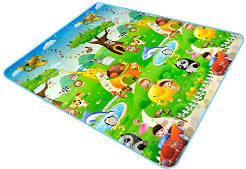 100% WATERPROOF, SINGLE SIDE BABY PLAY & CRAWL MAT (6 ft x 6.5 ft) Print may vary