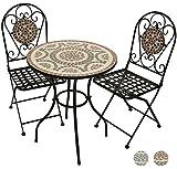 Woodside - Set table de jardin et chaises pliantes - motif mosaïque - Terracotta...