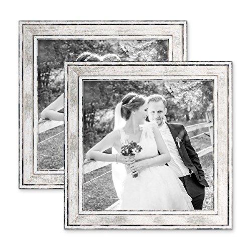PHOTOLINI 2er Set Bilderrahmen Pastell/Alt-Weiß Silber 20x20 cm Massivholz mit Vintage Look/Fotorahmen/Wechselrahmen