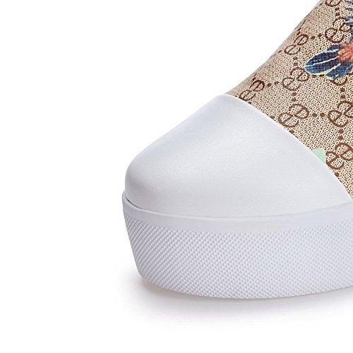 AllhqFashion Femme à Talon Correct Matière Souple Couleurs Mélangées Chaussures Légeres Abricot