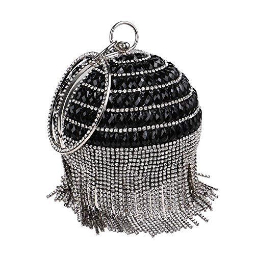 Zorxu damen runde kugel handtasche perle strass quaste abendtasche metall armband bankett handtasche geldbörse -