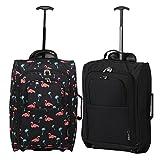 Set von 2 Leichtgewicht Handgepäck Kabinengepäck Flugtasche Koffer Trolley Gepäck (Schwarze Flamingos + Schwarz)