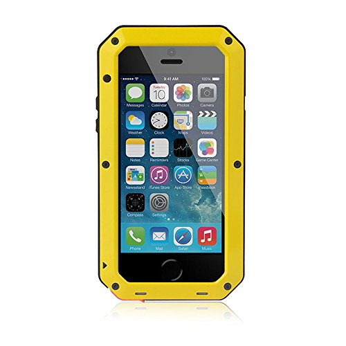 Waterproof Shockproof Aluminum Gorilla Glass Metal Cover Full-body Military Armor Protective Snowproof Dustproof Front and Back Case Cover For Apple iPhone 5 5S - Black by ISOUL jaune