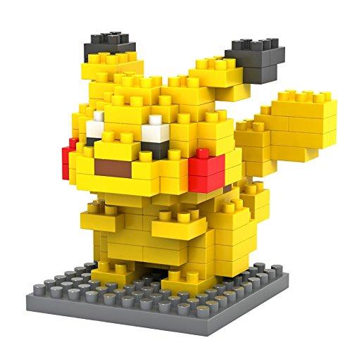 Figur Pokemon Pikachu, gebaut mit Mini-Bausteinen. 135 Miniatur-Bausteine. (Legos Pokemon)
