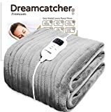 Dreamcatcher Luxurious Electric Heated Throw, Supersize 200 x 130cm Soft Fleece Grey Throw Blanket, Large Heated Electric Blanket Overblanket with Timer 9 Control Heat Settings (Grey, 200 x 130 cm)