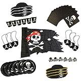 COM-FOUR Piraten-Geburtstagsfeier-Set für bis zu 6 Kinder - Piratenhut, Augenklappe, Ringe, Flagge, Teller, Becher, Servietten (43-teilig)