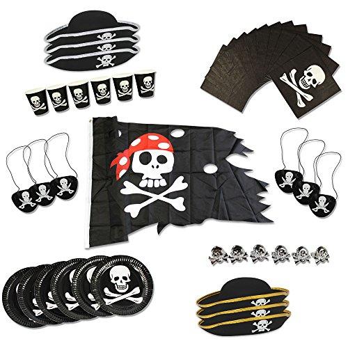 com-four® Piraten-Geburtstagsfeier-Set für bis zu 6 Kinder - Piratenhut, Augenklappe, Ringe, Flagge, Teller, Becher, Servietten (43-teilig)