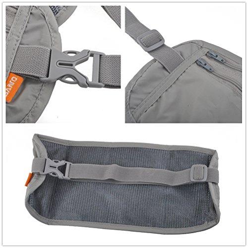 Reise Hüfttasche,Elastische Gürteltasche Bauchtasche Travel Kit Stealth Metallband Reisebrieftasche Pass-Paket Handys Gürteltasche Grau