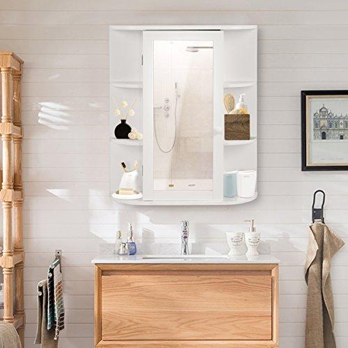 Costway Bathroom Wall Mounted Cabinet Shelf White Mirror Door Storage Cupboard Unit White