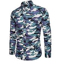 Delicacydex Camuflaje Camisa Casual para Hombres Ropa Delgada para niños Camisa con Cuello Alto Manga Larga Camisa con Estilo Coreano - Azul Camuflaje L