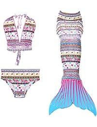 Le SSara Jeunes filles Cosplay Halter cou maillot de bain sirène Shell maillot de bain Bikini 3pcs définit