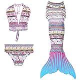 Maillots de bain loisirs sirène maillot de bain deux pièces Bikini 3pcs définit baignade spa Jeunes filles Cosplay Halter cou (blanc, 140)