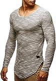 LEIF NELSON Herren Pullover Longsleeve Hoodie Basic Sweatshirt Hoodie Hoody Sweater LN6358; Größe XL, Grau
