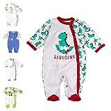 Baby Sweets Baby Strampler Jungen grau rot grün | Motiv: Babydino | Babystrampler mit Dinosaurier für Neugeborene & Kleinkinder | Größe 6 Monate (68)