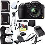 Panasonic Lumix FZ200 Digital Camera + Battery + External Charger + 32GB SDHC Card + 64GB SDXC Card + Card Reader + Saver Bundle - International Version (No Warranty)