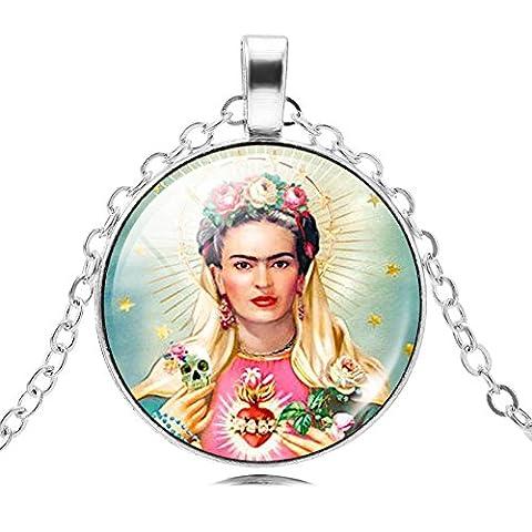 Déesse Frida Independent Femmes Collier Verre Cabochon Pendentifs Bijoux Idée Cadeau